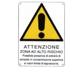 Cartello rischio amianto